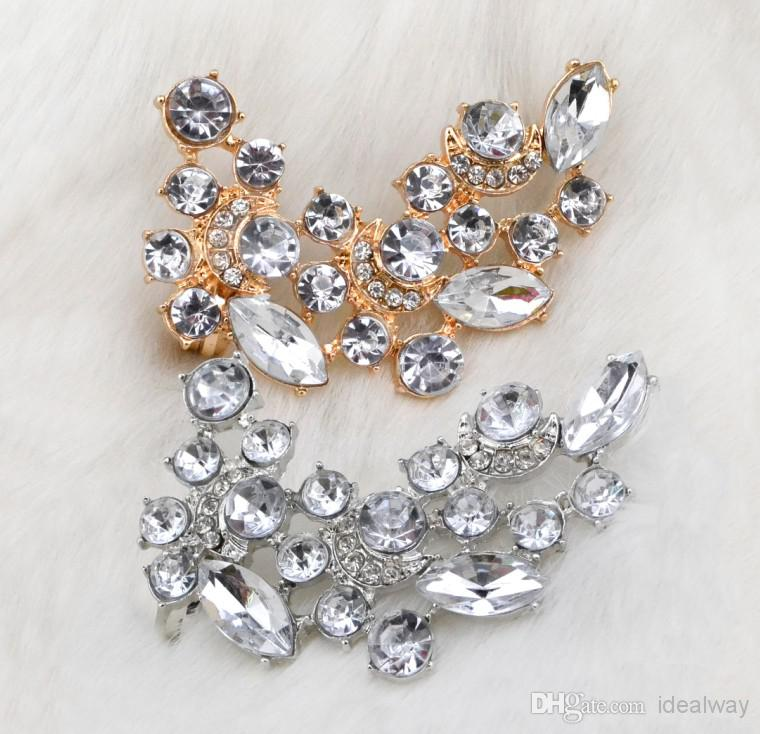 Crystal Flower Ear Stud Ear Clips Fashion Charming 2 Colors Gold Silver Plated Metal