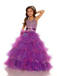 Wholesale Organza Wedding Belt - 2014 purple One-stopos Sexy Halter New Organza Belted sequined Ball Gown Flower Girl Pageant dresses free shipping