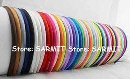Wholesale Headband Covers - 50 Colors Available Hot Fashion Children Satin Headbands Adult Simple Fresh Color Fashion Row Satin Ribbon Covered Headbands Hair Accessorie