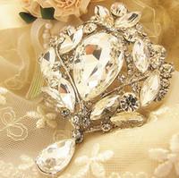 Wholesale Girl Huge - Luxury 4 Inch Huge Crystal Brooch Elegant Wedding Bridal Pendent Waterdrop Dangle Brooch Pin Fine Gift For Girls