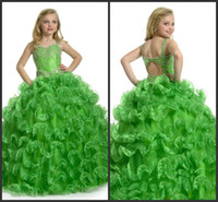 Wholesale Emerald Wedding Dresses - 2016 New Arrival Beautiful Emerald Green Beading Ball Gown Lovely Flower Girl Dresses