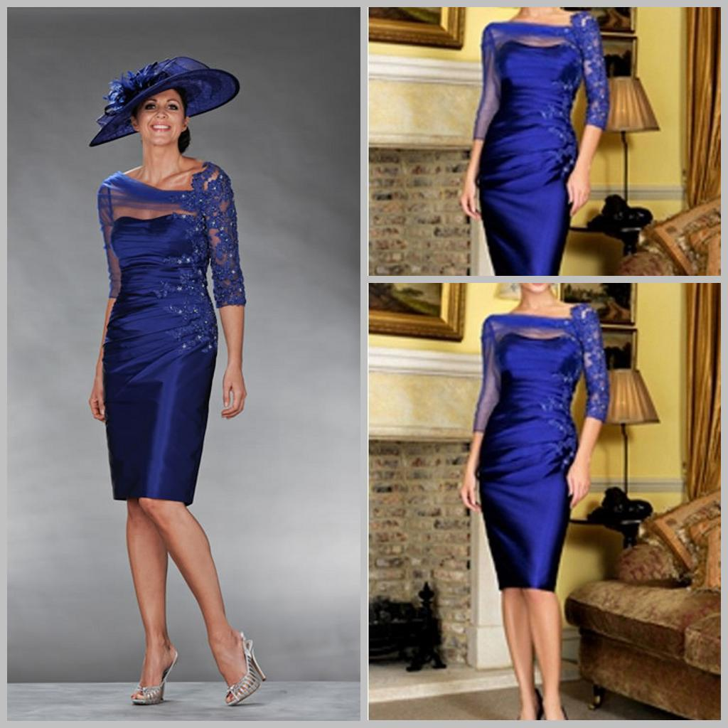 Plus Size Mother Of The Bride Dresses Royal Blue Silver Sheer Neckline 3 4  Sleeves Sheath Knee  Tea Length Short Formal Evening Dress M1324 Mother Of  The ... fafc599a2
