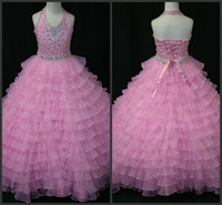 Wholesale New Girls Pagent Dresses - 2014 new pink hot sale Beaded Organza Ball Gown Flower Girl Pagent Dresses with Halter Neckline beads beading crystal free shipping