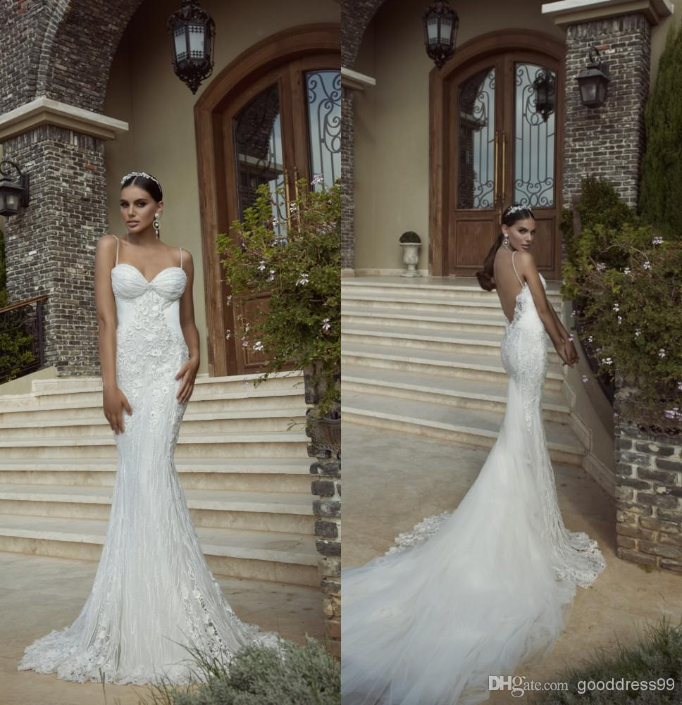 Wholesale 2014 Inbal Dror Sheer Wedding Dresses Spaghetti Lace ...