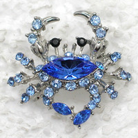 Wholesale Crab Brooches - Wholesale C786 B Sapphire Marquise Crystal Rhinestone Crab Fashion Brooches Costume Pin Brooch jewelry gift