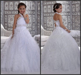 Wholesale Ostrich Feathers Color Black - Most Popular!!White Princess Flower Girl's Dresses ostrich feather Little Girl's Pageant Dresses tiered Floor Length Beads Kid Dress