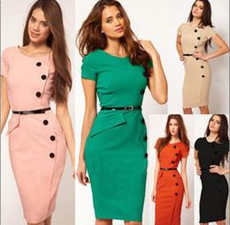Vestidos de color naranja rosa caliente online-Celebrity Casual Fromal Women Dress O-cuello botón diseño negro rosa naranja verde tez verano vestidos VENTA CALIENTE