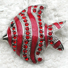 Red Indian Costumes Australia - Wholesale Crystal Rhinestone Enamel Fish Brooches Jewelry gift Costume Pin Brooch C803