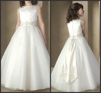 Wholesale New Flower Ribbon Design - 2014 new style design white organza sash Flower Girl dresses Pageant Communion Party Dress Custom All Sizes Custom made free shipping