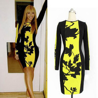 Wholesale Drop Ship Celebrity - Free shipping Womens Celebrity Style Print Floral Yellow Bodycon Tunic Black Party Business office shift Midi Pencil Dress 2014 drop ship