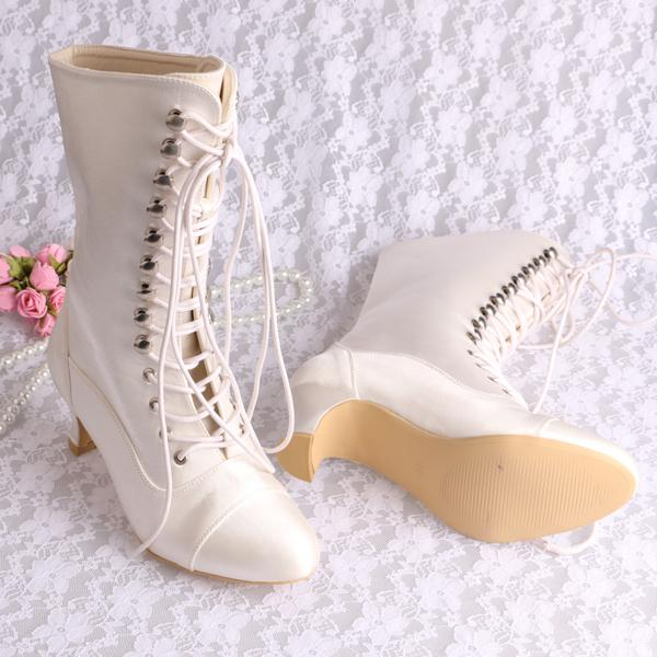 Fashion Ivory White Round Toe Spike Heel Lace Up Satin Wedding Bridal Women's Winter Long Boots