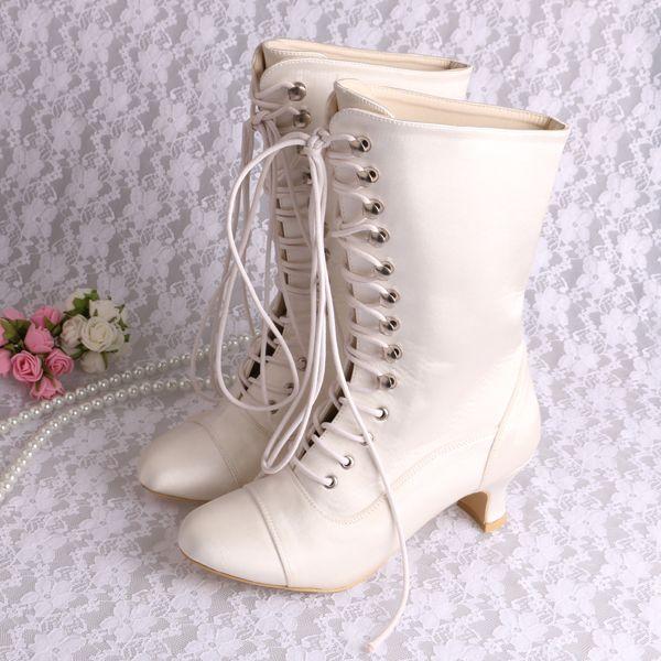 Free Shipping Fashion Ivory White Round Toe Spike Heel Lace Up Satin Wedding Bridal Women's Winter Long Boots