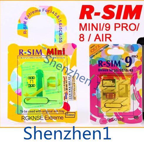 Original RSIM R SIM R-SIM Mini+ 8 9 PRO 9C 9S Air GPP Gold EXtreme 0.2MM Thin Unlock Card For Iphone 4S 5 5C 5S IOS 6.X IOS 7.0 7.0.3 7.0.4