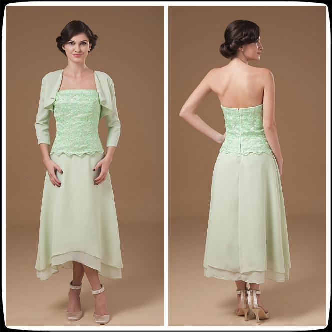 Wedding Gown For Parents: Mint Green A Line Strapless Sleeveless Chiffon Tea Length