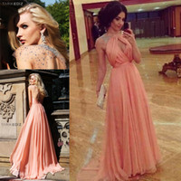 Wholesale Dark Peach Prom Dress - Stunning Unique Design Sexy Halter Rhinestone Chiffon Peach Color Long Prom Dress Women Free Shipping WH425