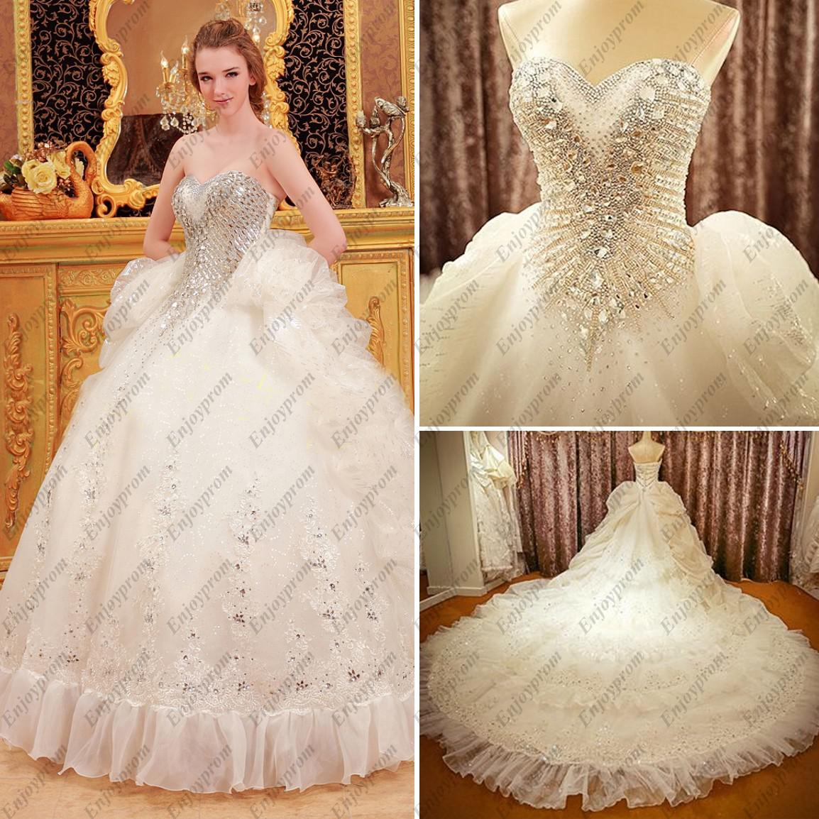 2014 Hot Ball Gown Wedding Dresses, Glamorous Organza Sweetheart ...