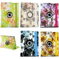 Wholesale Ipad 4th Cases - S5Q 360 Rotating PU Leather Case Smart Flower Cover For The New iPad 2nd 3rd 4th AAACJT