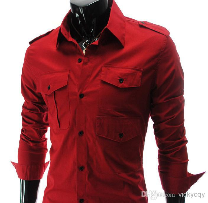 2017 Wholesale New Men'S Red Shirt Fashion Style Mens ...