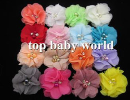 """Wholesale Chiffon Flowers Pearl Diy - DIY 2"""" Mini Chiffon Flowers with Pearl and Rhinestone Lace flowers 16 Colors Mixed for Baby Hair Accessories kids accessories"""
