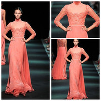 Wholesale Long Sleeve Red Leather Dress - New Arrival High Neck Long Sleeve Prom Dresses Appliqued Sheath With Leather Belt Floor-Length Chiffon Evening Gowns JX-020