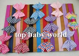 "Wholesale wholesale chevron baby headbands - 2.5"" Chevron Print bows elastic headbands hair bow hairband baby girls kids hair accessories Chevron Bow for baby 33pcs lot"