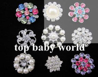 Wholesale Rhinestones Shank - 20pcs lot Rhinestone pearl buttons without Shank for flower center crystal Button for wedding party dress accessories