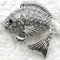 Wholesale fish pins for sale - Group buy 12pcs Crystal Rhinestone Fish Brooches Fashion Pin Brooch jewelry gift Pendant C628