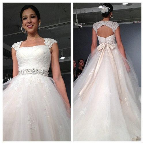 Alencon lace strapless wedding dress