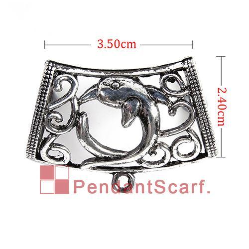 12 UNIDS / LOTE Nueva Llegada Popular DIY Collar de La Joyería Bufanda Colgante Encanto de la Aleación Mental Delfín Diapositiva Bails Tubo, Envío Gratis, AC0249A