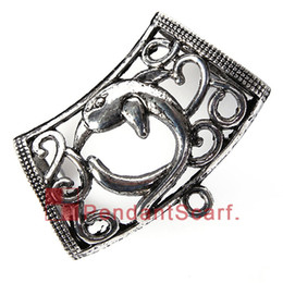 Wholesale Dolphin Design Jewelry - 12PCS LOT New Arrival Popular DIY Necklace Jewelry Scarf Pendant Mental Alloy Charm Dolphin Design Slide Bails Tube, Free Shipping, AC0249A