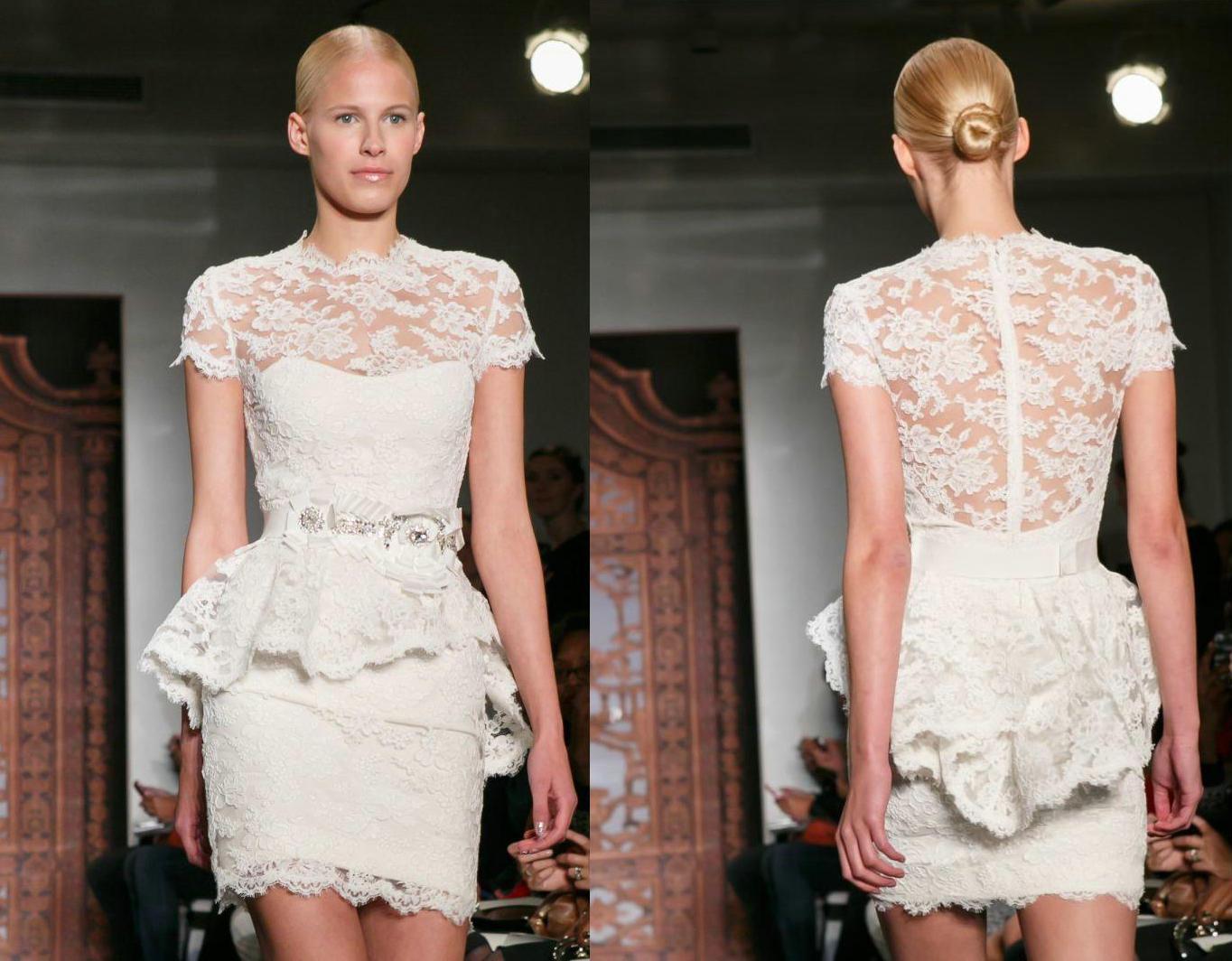 Cheap Wedding Dresses Lace: Cheap Lace Short Sleeve Peplum Wedding Dress 2014 Sheer