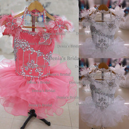 Wholesale Hand Made Dress Designs - 2014 Lovely Ostrich Feather Beaded Scoop Neckline With Halter Design Straps Cupcake Organza Little Girls Pageant Dresses Dhyz 01