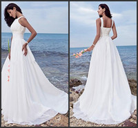 Wholesale Wedding Dress Sweep Brush Lace - 2014 new design beach wedding dresses Sheath  Column Halter Jewel Sweep   Brush Train Chiffon Bridal gowns White Summer sheath Wedding gowns