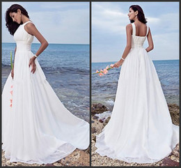 Wholesale Jewel Brush - 2014 new design beach wedding dresses Sheath  Column Halter Jewel Sweep   Brush Train Chiffon Bridal gowns White Summer sheath Wedding gowns