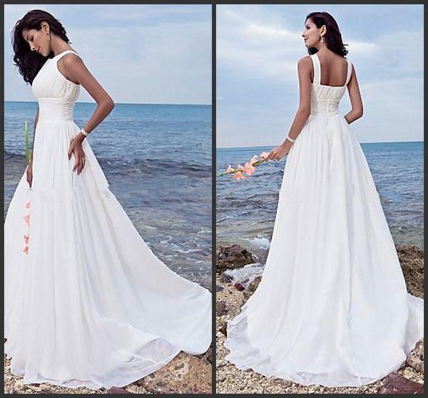 2014 new design beach wedding dresses Sheath/ Column Halter Jewel Sweep / Brush Train Chiffon Bridal gowns White Summer sheath Wedding gowns