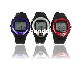 Wholesale Stop Watch Monitor - Free shipping 20PC LOT Calorie Counter Pulse Heart Rate Monitor Stop sport Watch Waterproof with Calendar Function
