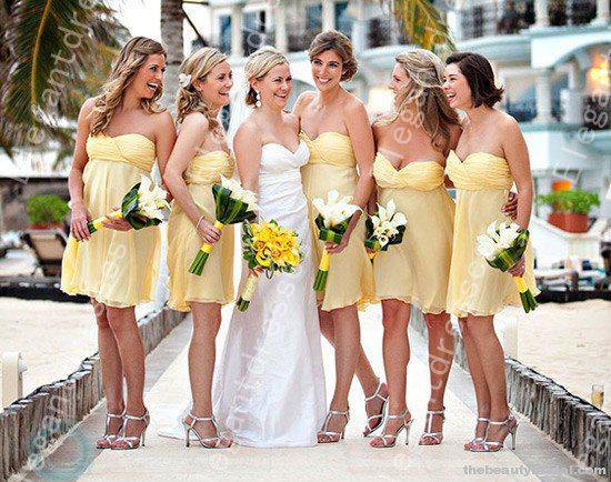 Designer 2019 Elegante nuovo stile chiffon di lunghezza del ginocchio giallo abiti da damigella d'onore abiti formali sotto 100 $ onore della cameriera economico formale