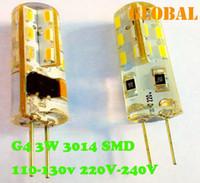 Wholesale White Cover 3w Led - G4 LED Lamp SMD 3014 24 LEDs 3W AC 110V-130V 220V-240V Silica gel cover Replace 30W halogen lamp LED Bulb warranty 2 years 2014 New Arrival
