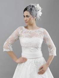 Wholesale Three Quarter Sleeve Lace Bolero - Brand New White Three Quarter Long Sleeved soft Tulle with Lace & Beaded Bridal Bolero Jacket