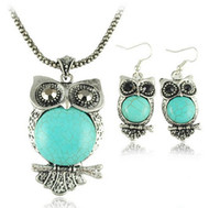 Wholesale Owl Pendant Jewellery - Vintage jewelry sets fashion turquoise owl pendant necklace earrings girl's jewellery 2014