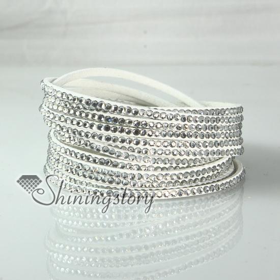 best selling leather crystal rhinestone multi layer snap wrap bracelets slake bracelet braided leather bracelet