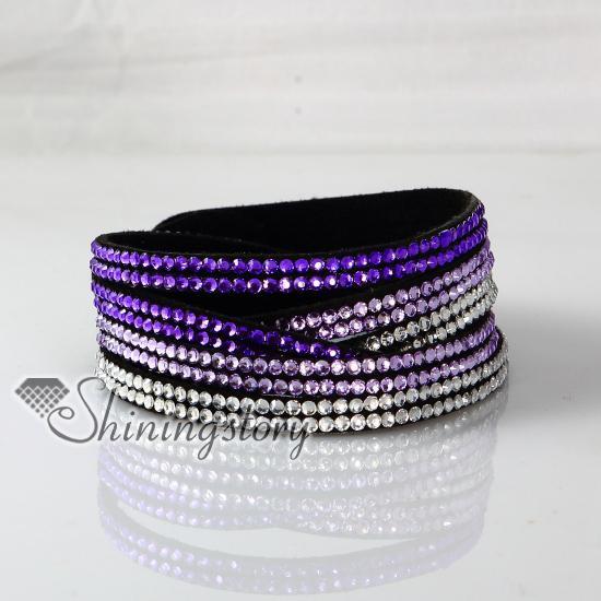 top popular leather crystal rhinestone multi layer rainbow color snap wrap bracelets slake bracelets cheap fashion jewelry 2019