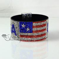 Wholesale Leather Flag Bracelet - leather crystal rhinestone UK USA flag snap wrap bracelets slake bracelets handmade leather bracelet