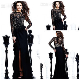 Wholesale Ladies Club Wear Fashion - 2015 New arrival sexy black Evening Dresses Bateau long sleeve Floor Length prom dresses Sheath slit front Lace with Chiffon Fashion Lady