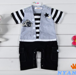 Wholesale Toddler Shortalls Rompers - 1PCS LOT Stripe Baby Rompers Camera Short Sleeve Toddler Bodysuits Coverall Baby Tuxedo Shortalls HJ