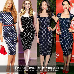 Wholesale Cotton Manufacture - Manufacture Price: 2015 summer temperament Slim white black Polka Dot Dress With Knee-length sleeved package hip dress S-XL