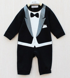 Wholesale Baby Boy Coverall Rompers - Retail Baby Tuxedo Rompers Long Sleeve Gentleman One-Pieces Toddler Bodysuits Coverall Baby Overalls 1pcs