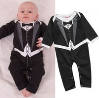 Wholesale Baby Boy Vest 18 24 - 2014 Newest Tuxedo Baby Rompers Gentleman One-Pieces Body Suit Handsome Toddler Bodysuits Baby Vest Romper Free Shipping