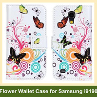 Wholesale Galaxy S4 Mini Flip Covers - Wholesale Beauty Butterfly Flower Print PU Leather Wallet Flip Cover Case for Samsung Galaxy S4 Mini i9190 Free Shipping