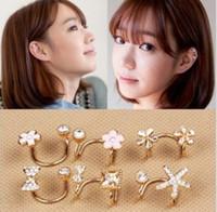 Wholesale Bow Earring Cuff - No Ear Pierced Ear Clip Earrings Little Daisy Flowers Bow Zircon Stud Earrings Cuff Jewelry Unisex Ear Bones 8 Designs Mix ZS